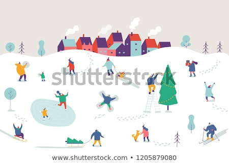 skating and skiing people in winter season vector stock photo © robuart