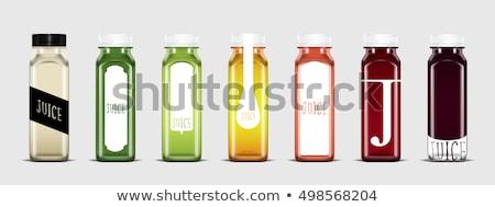 Water Plastic Bottle And Green Apple Cartoon Illustration Stock photo © hittoon