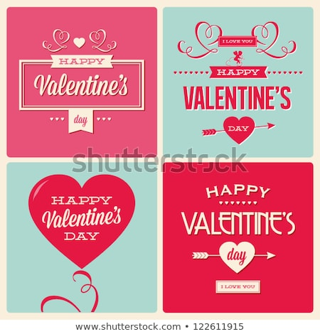 valentines day card with cupid and hearts stock photo © artspace