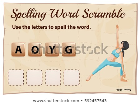 Spelling word scramble game with word yoga Stock photo © colematt