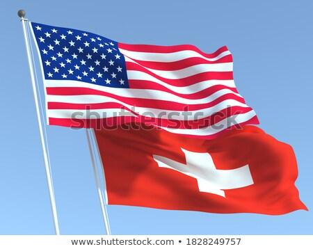 Dois bandeiras Estados Unidos Suíça isolado Foto stock © MikhailMishchenko