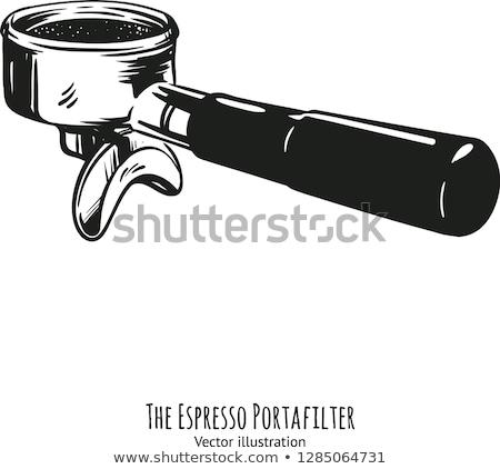 vektor · kávéscsésze · gravírozott · stílus · csészealj · szín - stock fotó © netkov1