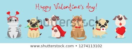Walentynki czerwony karty dating dziewczyna chłopca Zdjęcia stock © robuart