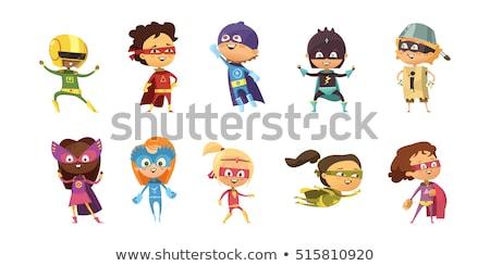 szuperhős · integet · boldog · rajz · mosolyog · fekete - stock fotó © bennerdesign