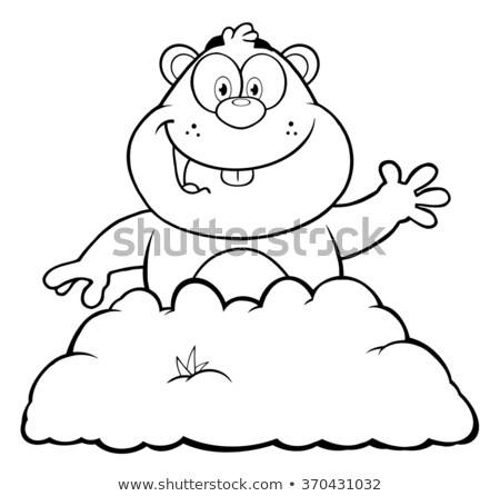 Black And White Happy Marmot Cartoon Character Waving Stock photo © hittoon