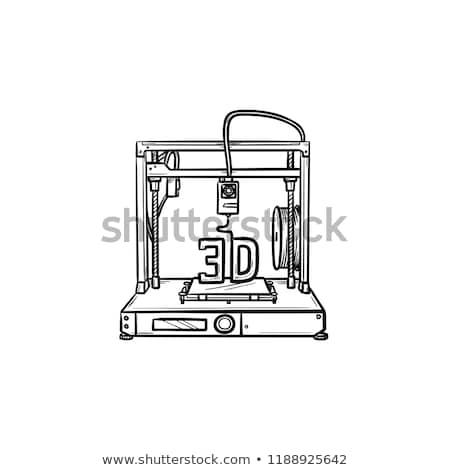 3D printer prints cube hand drawn outline doodle icon. Stock photo © RAStudio