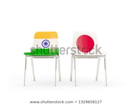 Iki sandalye bayraklar Hindistan Japonya yalıtılmış Stok fotoğraf © MikhailMishchenko