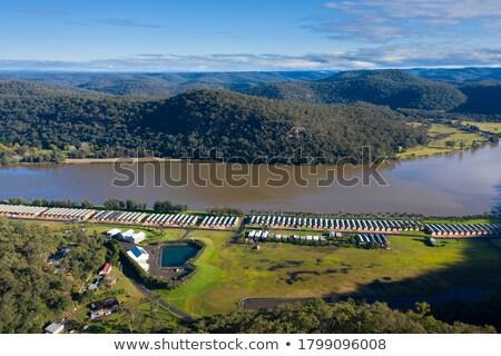 Madera cabina río ilustración casa paisaje Foto stock © colematt