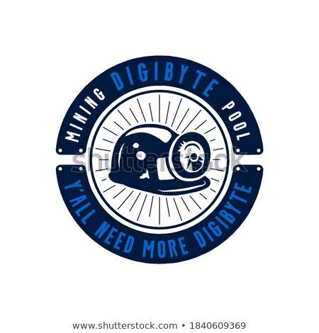 Stok fotoğraf: Digibyte mining badge concept. Digital asset DGB. I need more digibyte quote. Funny crypto emblem. B