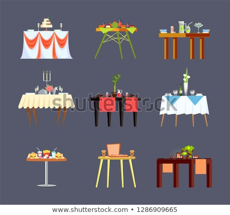 Restaurant Table with Candlestick and Cutlery Icon Photo stock © robuart