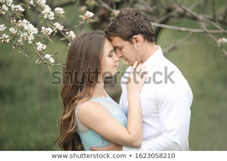beijando · recém-casado · casal · tempo · jardim - foto stock © ElenaBatkova