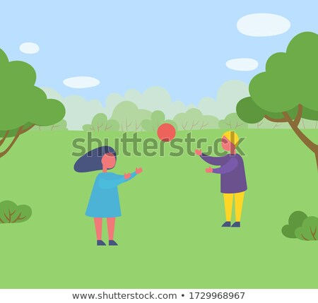 Girls and Boy Playing Volleyball in Forest Vector Stock photo © robuart