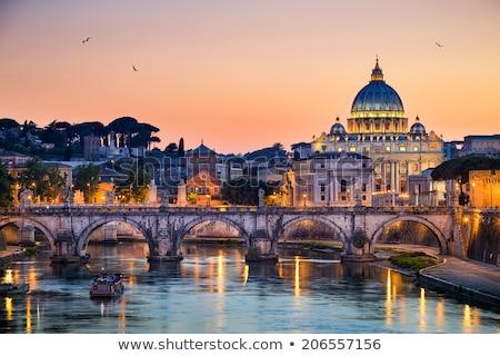 Sziluett Róma Olaszország kilátás város nap Stock fotó © neirfy
