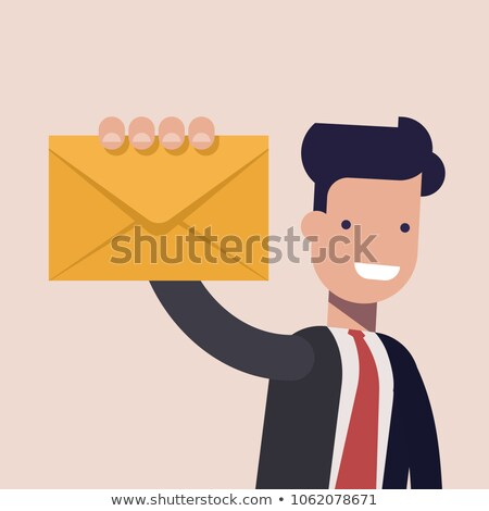 man holding letter papers in envelopes vector stock photo © robuart