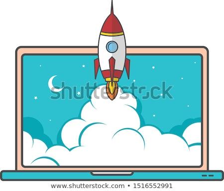 notebook · laptop · erősítés · kezdet · felfelé · űr - stock fotó © vector1st