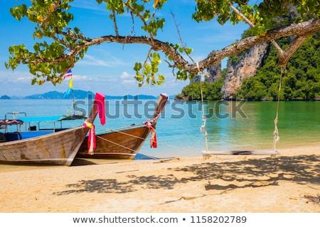 песок пляж традиционный лодках Тропический остров пейзаж Сток-фото © vapi