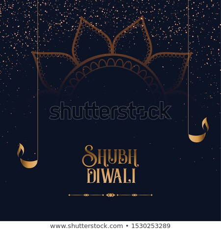 shubh diwali sparkles background with golden diya Stock photo © SArts