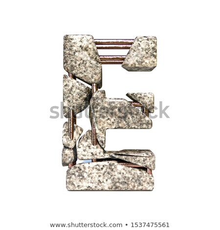 Concrete fracture font Letter E 3D Stock photo © djmilic