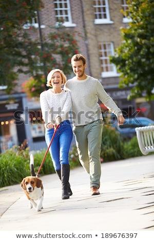 Pár elvesz kutya séta város park Stock fotó © ruslanshramko