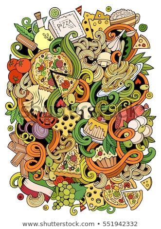 Cartoon doodles Italian Food illustration. Italy cuisine funny picture Stock photo © balabolka