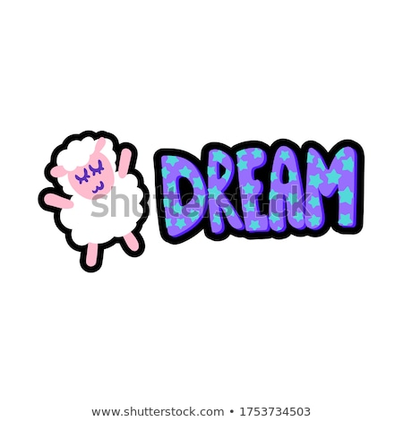 sheep with dream lettering stitched frame patch stock photo © barsrsind