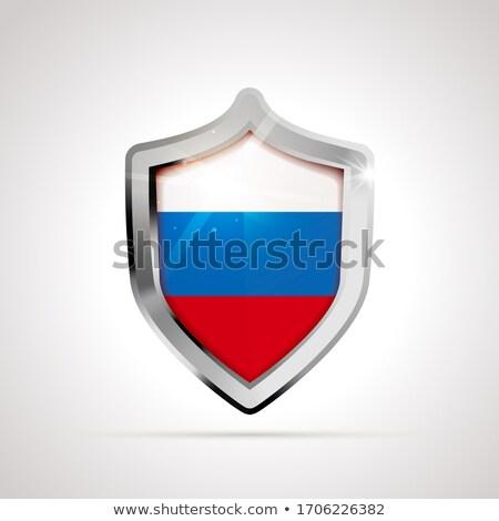 Oroszország zászló fényes pajzs fehér izolált Stock fotó © evgeny89