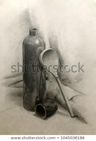 Martwa natura butelki łyżka akademicki rysunek ilustracja Zdjęcia stock © evgeny89