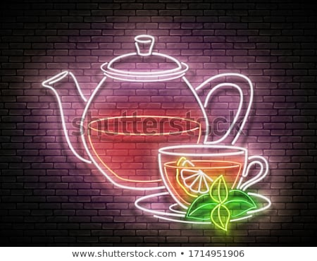 Vintage Glow Signboard with Glass Tea Pot, Cup and Branch of Pla Stock photo © lissantee