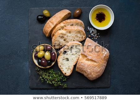 Maduro azeitonas azeite pão topo ver Foto stock © karandaev