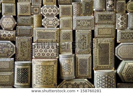 decorated souvenir boxes in cairo egypt souk market Stock photo © travelphotography