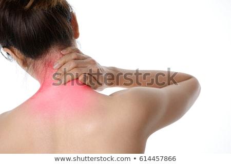 Zdjęcia stock: Widok · z · tyłu · topless · kobieta · ból · szyi · biały · ciało