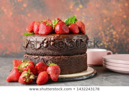 торт · шоколадом · клубника · иллюстрация · катиться · кофе - Сток-фото © m-studio