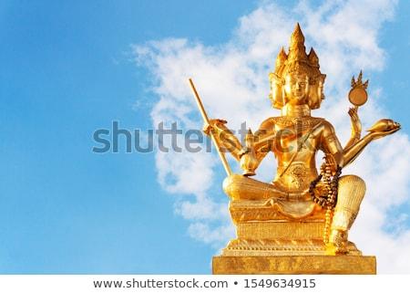 Foto stock: Estátua · belo · dourado · céu · arte · anjo