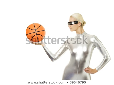 beautiful cyber woman with silver ball stock photo © nejron