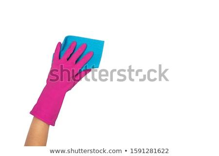 Glove holding sponge isolated on white  stock photo © entazist