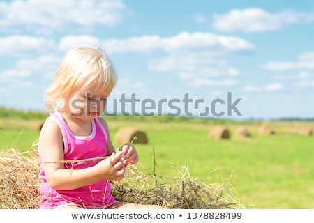 small rural girl on the straw after harvest field with straw bal stock photo © vladacanon