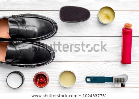 Black sponge for care of footwear Stock photo © ozaiachin