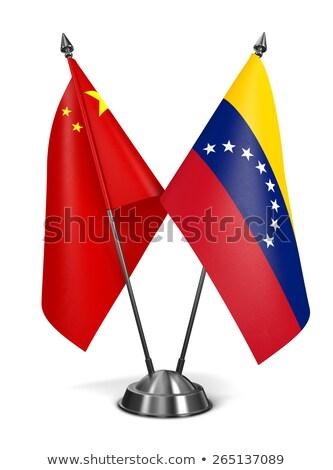 Kína Venezuela miniatűr zászlók izolált fehér Stock fotó © tashatuvango