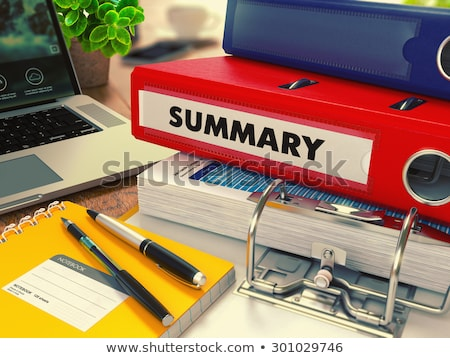 Piros iroda mappa felirat összefoglalás asztali Stock fotó © tashatuvango