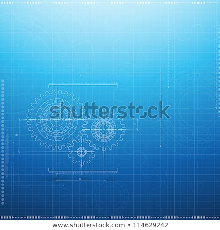 industrial engineering on the gears blueprint style stock photo © tashatuvango