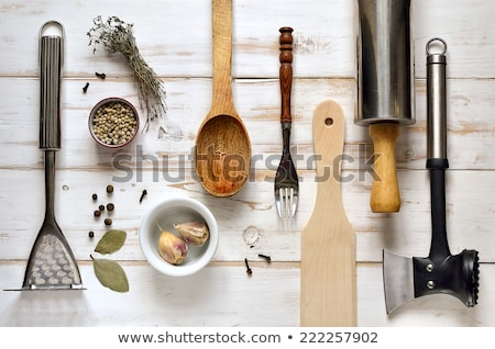 ヴィンテージ · 銀食器 · 素朴な · 木製 · 食品 · 木材 - ストックフォト © karandaev