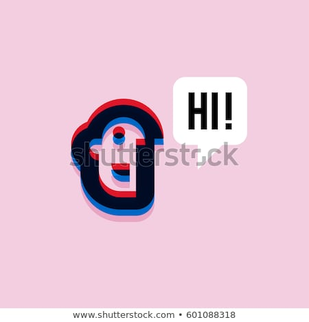 Man Saying Hi 3d Effect Character With Expressive Interjection Photo stock © ussr