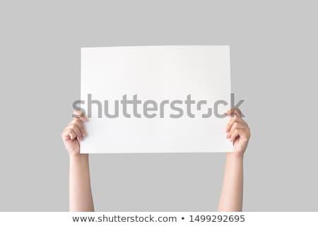 Kezek tart fehér tábla izolált fehér papír Stock fotó © julenochek