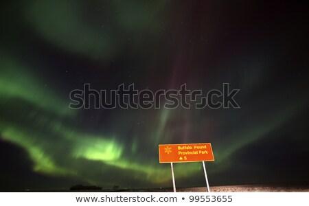 Foto stock: Norte · luzes · atrás · saskatchewan · placa · sinalizadora