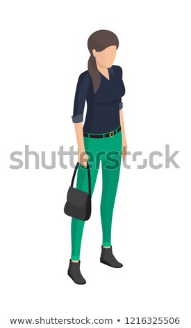 Woman in Green Trousers, Black Blouse, Belt Sack Stock photo © robuart