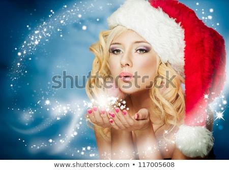 natal · belo · sorrindo · branco · tricotado · suéter - foto stock © victoria_andreas