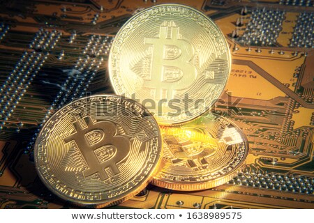 Bitcoin moederbord gouden munt digitale valuta Stockfoto © grafvision