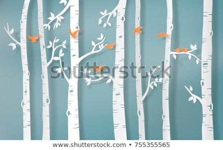 береза дерево птиц иллюстрация деревья желтый Сток-фото © lenm