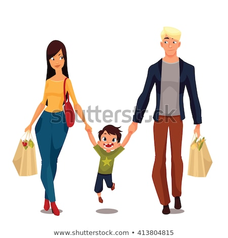 Happy Woman With Shopping Bags After Shopping Vector. Isolated Illustration Stock photo © pikepicture