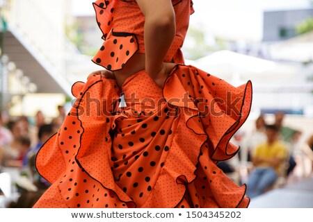 Piccolo flamenco ballerino bambina fiore faccia Foto d'archivio © msdnv